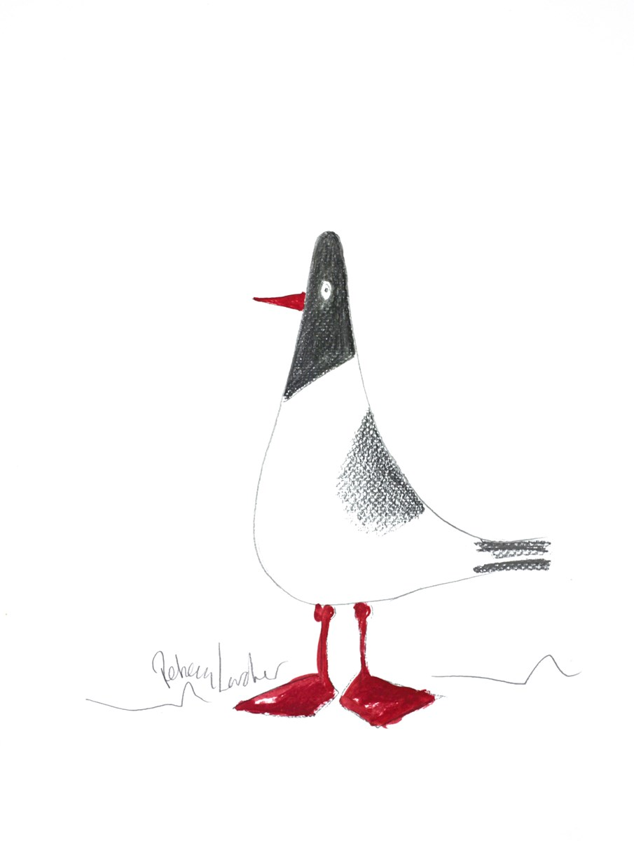 Red Feet Sketch VI by rebecca lardner -  sized 10x10 inches. Available from Whitewall Galleries
